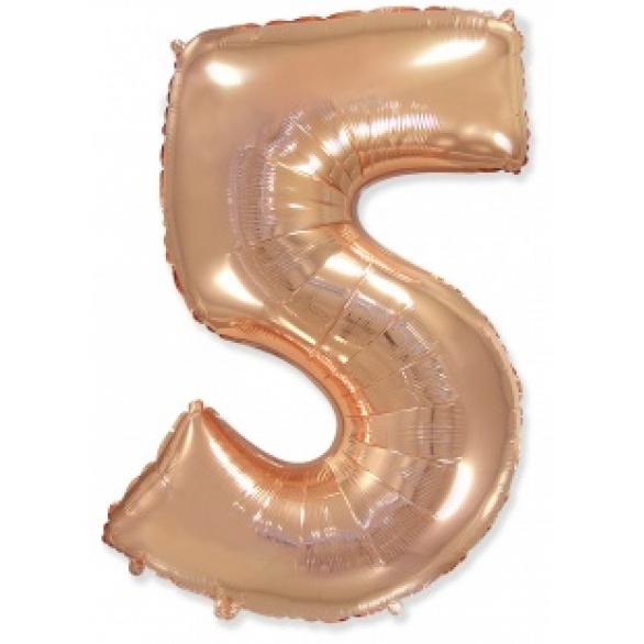 Шар цифра 5 розовое золото 102 см