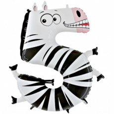 Шар цифра 5 зебра 102 см