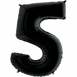 Шар цифра 5 черная 102 см