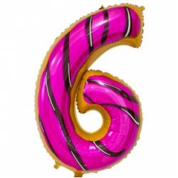 Шар цифра 6 пончик 86 см