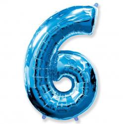 Шар цифра 6 синяя 102 см