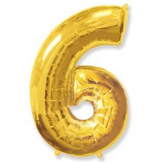 Шар цифра 6 золото 102 см