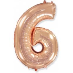 Шар цифра 6 розовое золото 102 см