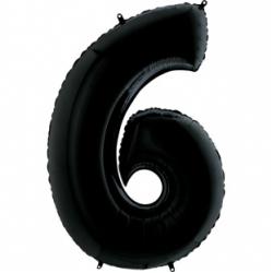 Шар цифра 6 черная 102 см
