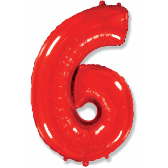 Шар цифра 6 красная 102 см