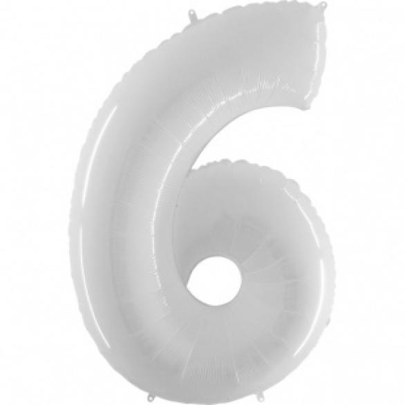 Шар цифра 6 белая 102 см