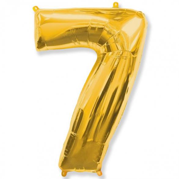 Шар цифра 7 золото 102 см
