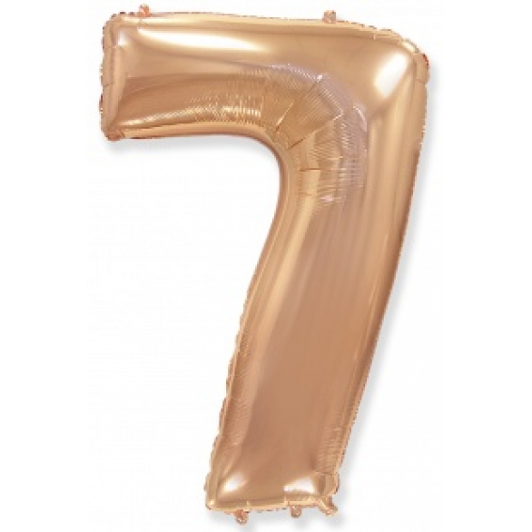 Шар цифра 7 розовое золото 102 см