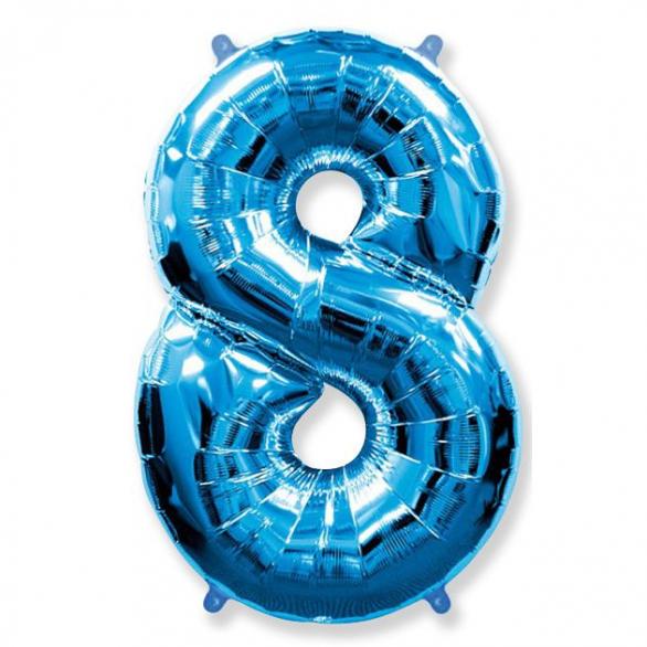 Шар цифра 8 синяя 102 см