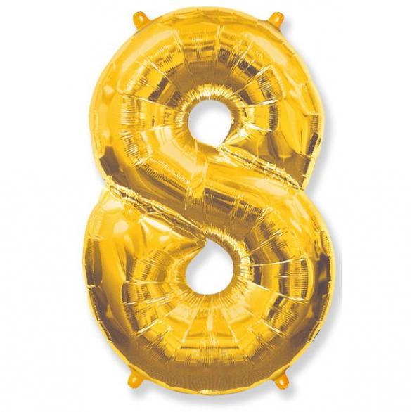 Шар цифра 8 золото 102 см