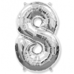 Шар цифра 8 серебро 102 см