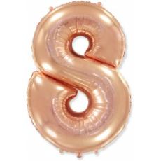 Шар цифра 8 розовое золото 102 см