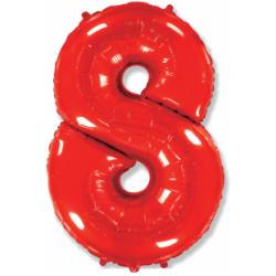 Шар цифра 8 красная 102 см