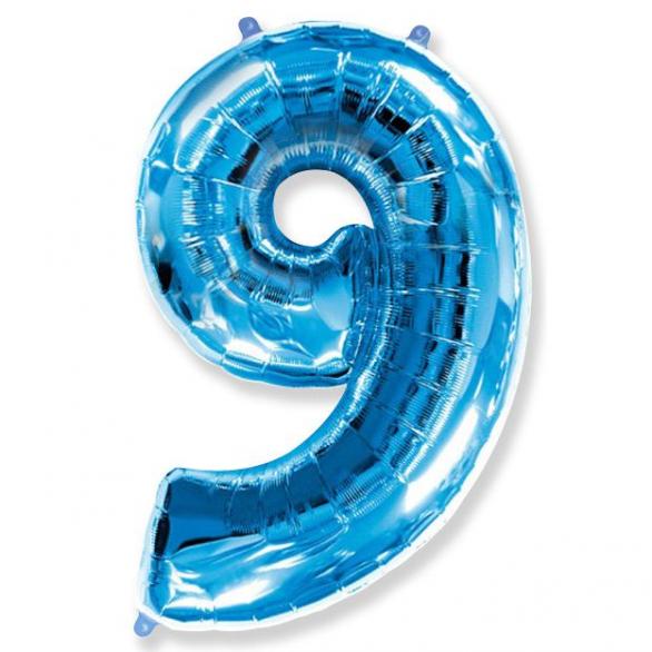 Шар цифра 9 синяя 102 см