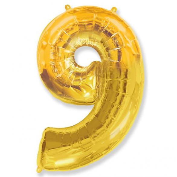 Шар цифра 9 золото 102 см