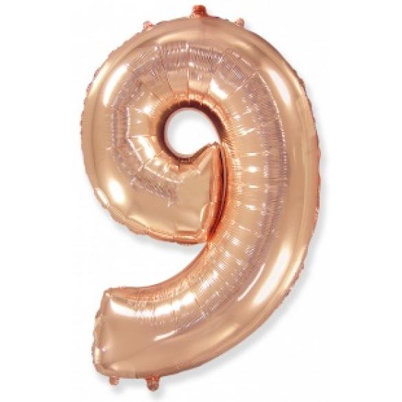Шар цифра 9 розовое золото 102 см