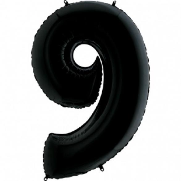Шар цифра 9 черная 102 см
