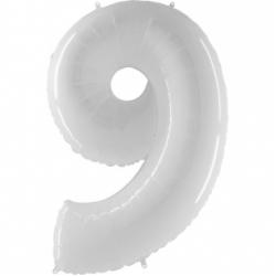 Шар цифра 9 белая 102 см