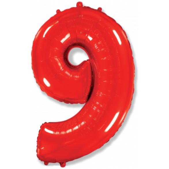 Шар цифра 9 красная 102 см