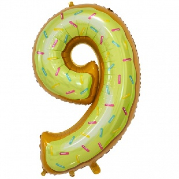 Шар цифра 9 пончик 86 см