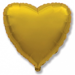Шар сердце золото 45 см