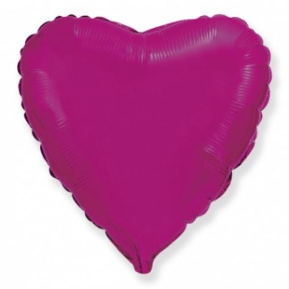 Шар сердце пурпурный 45 см
