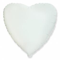 Шар сердце белый 45 см