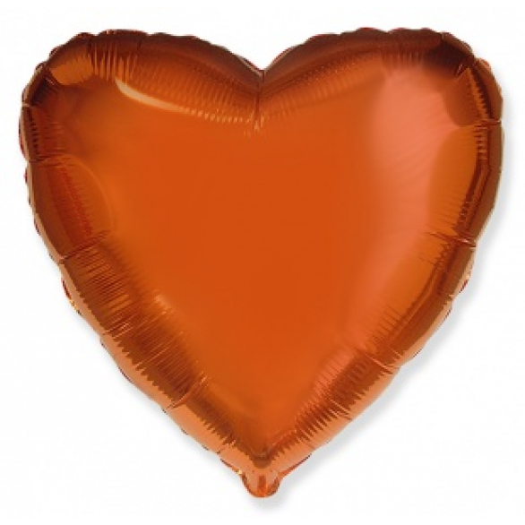 Шар сердце оранжевый 45 см