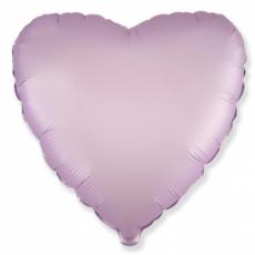 Шар сердце сиреневый сатин 45 см