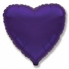 Шар сердце фиолетовый 45 см