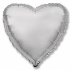 Шар сердце серебро 45 см