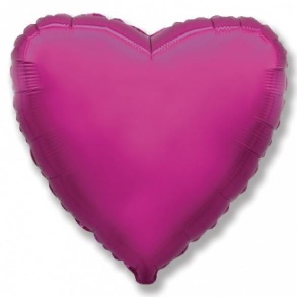 Шар сердце фуксия 45 см