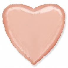 Шар сердце розовое золото 45 см