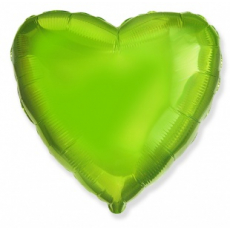 Шар сердце лайм 45 см