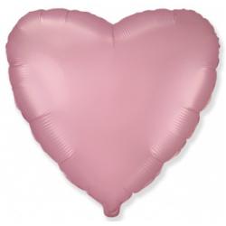 Шар сердце розовый сатин 45 см