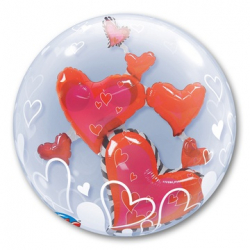 BUBBLE ИНСАЙДЕР Парящие Сердца Красные 61 см