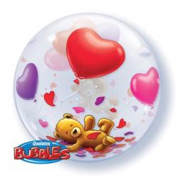 BUBBLE 55 см Мишка плюшевый с шарами