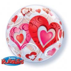 BUBBLE 55 см Сердца красные и Завитки