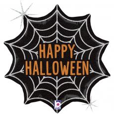 Шар Паутинка на Хэллоуин, Черный, Голография, 46 см
