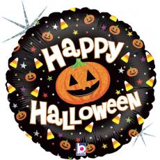 Шар круг, Тыквы на Хэллоуин, Черный, Голография, 46 см