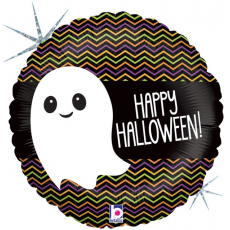 Круг маленькое привидение, Веселый Хэллоуин, Черный, Голография, 46 см