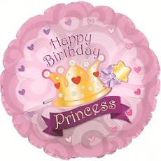 Воздушный шар (18''/46 см) Круг, С Днем рождения (корона принцессы).