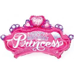 Шар (29''/74 см) Фигура, Диадема для принцессы, Розовый.