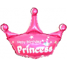 Шар (37''/94 см) Фигура, Корона, С Днем Рождения, Принцесса, Розовый.