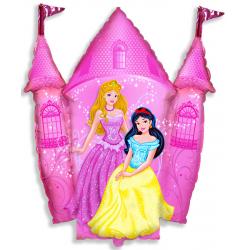 Шар (34''/86 см) Фигура, Замок принцессы, Розовый.