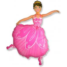 Фольгированный шар (40''/102 см) Фигура, Балерина, Розовый.