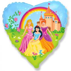 Воздушный шар (18''/46 см) Сердце, Замок принцессы.