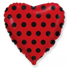 Воздушный шар (18''/46 см) Красное сердце, черные точки.