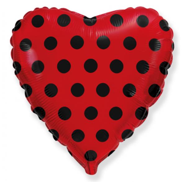 Воздушный шар сердце красное с черными точками