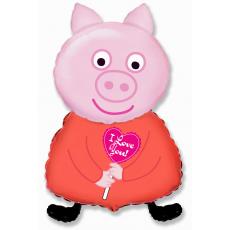 Фольгированный шар (32''/81 см) Поросенок с сердцем, Розовый